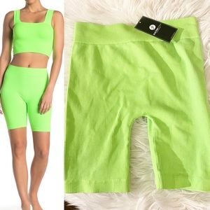 Electric Yoga Ribbed Biker Shorts Lime Green NEW
